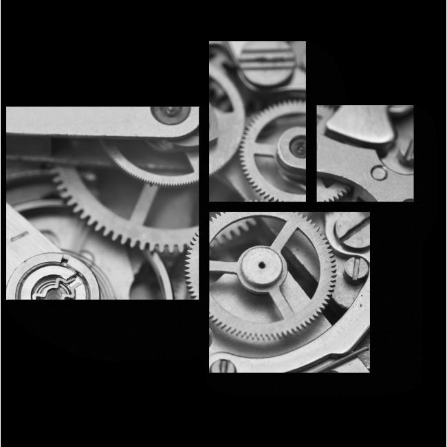 Модульная картина Часовой механизм