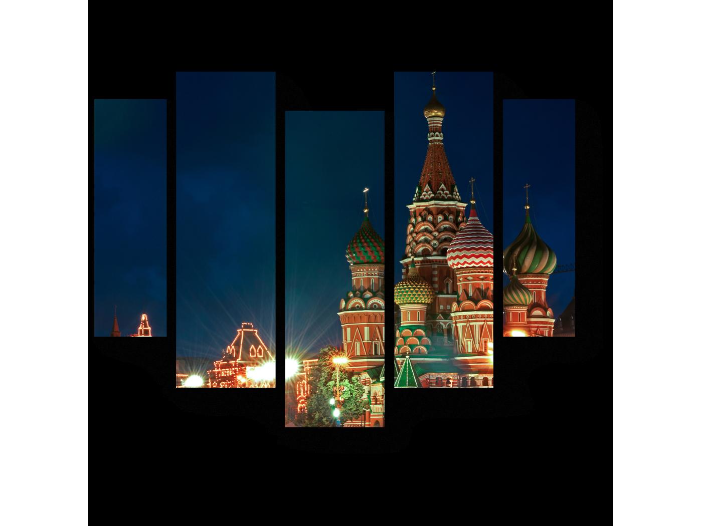 Модульная картина Красная площадь ночью (101x82) фото