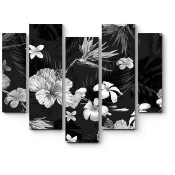 Черно-белый цветочный узор