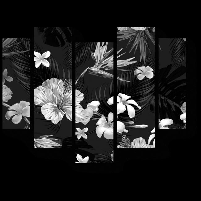 Модульная картина Черно-белый цветочный узор