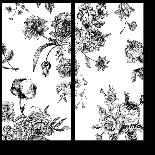 Модульная картина Черно-белое цветение