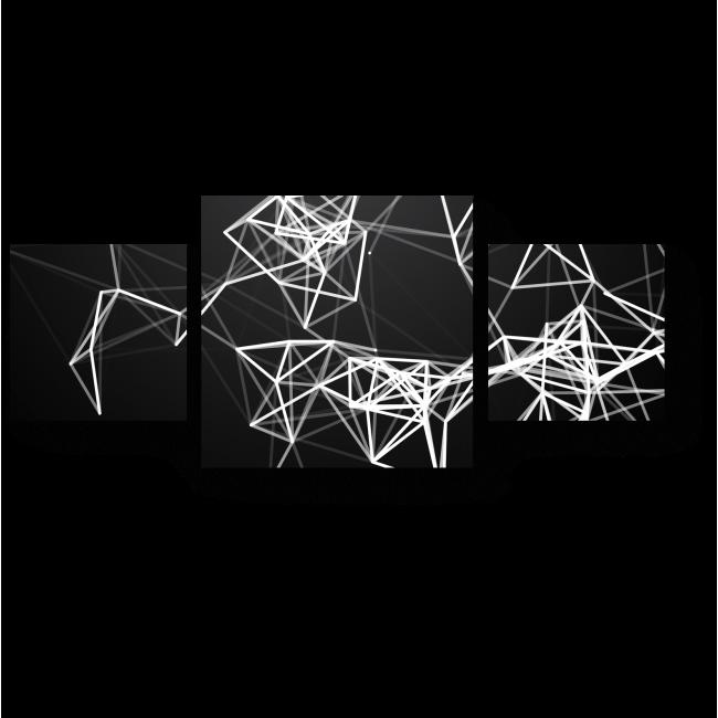 Модульная картина Сияющие линии на черном