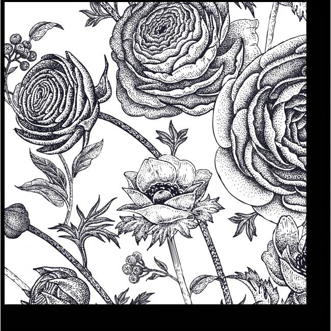 Модульная картина Цветочная фантазия в черно-белом