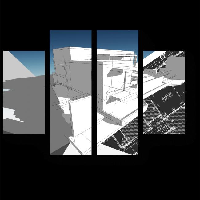 Модульная картина Архитектурный скетч