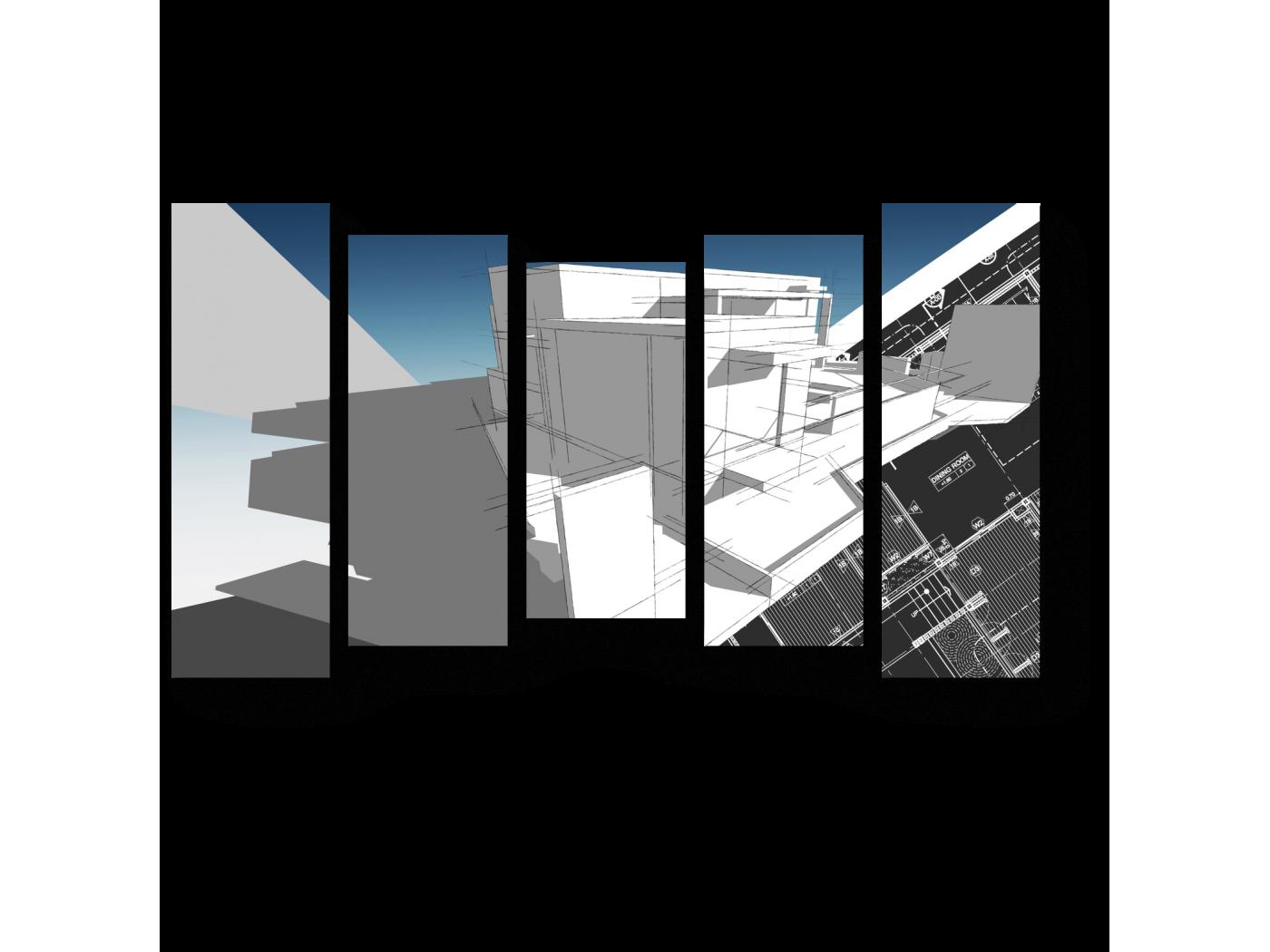 Модульная картина Архитектурный скетч (90x54) фото