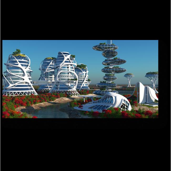 Модульная картина Побережье города будущего