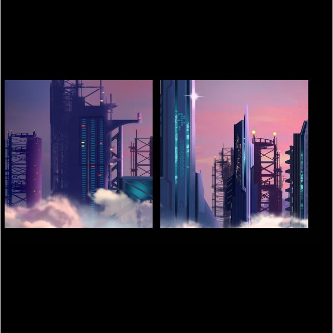 Модульная картина Строящиеся небоскрёбы