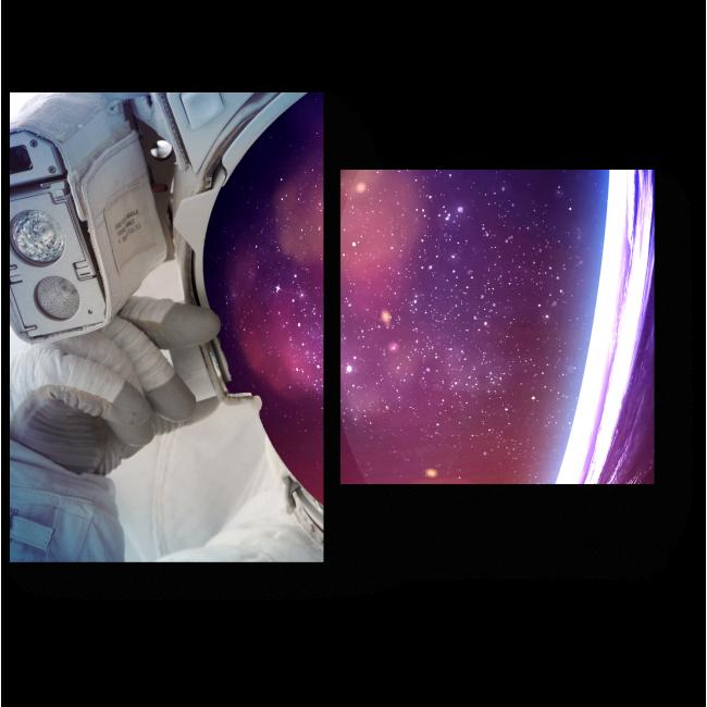 Модульная картина Астронавт в открытом космосе