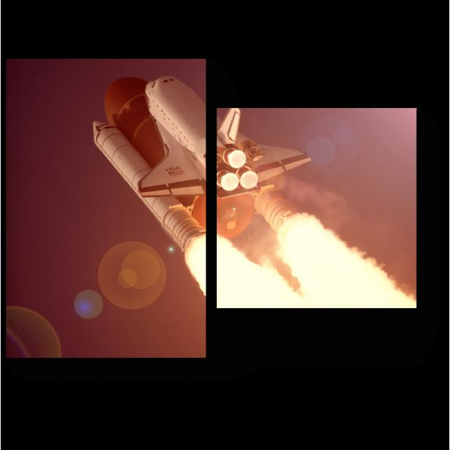 Модульная картина Пламя ракеты