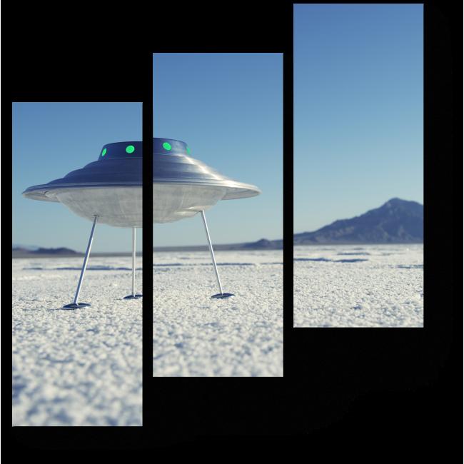 Модульная картина Летающая тарелка в пустыне