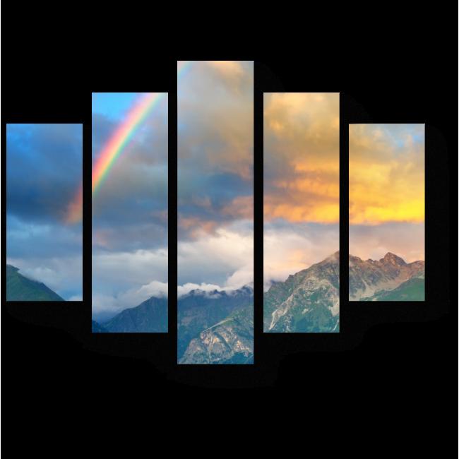 Модульная картина Радуга над горами