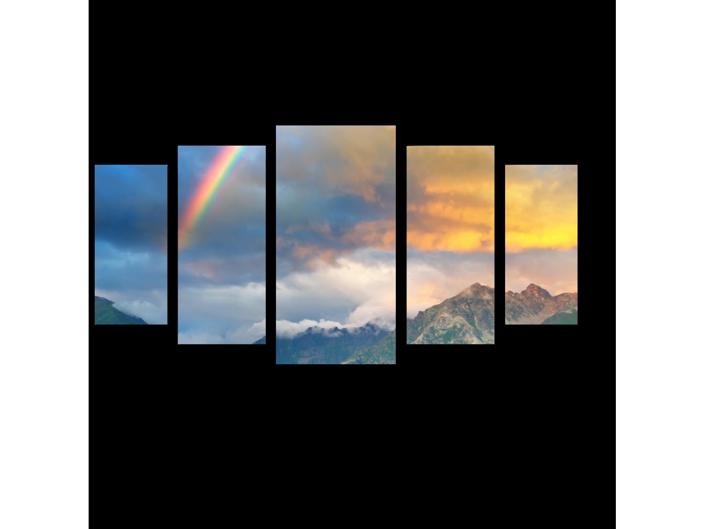 Модульная картина Радуга над горами (100x55) фото