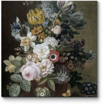 Пышный букет из роз, тюльпанов и ирисов