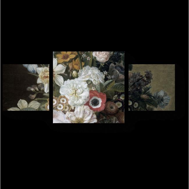 Модульная картина Пышный букет из роз, тюльпанов и ирисов