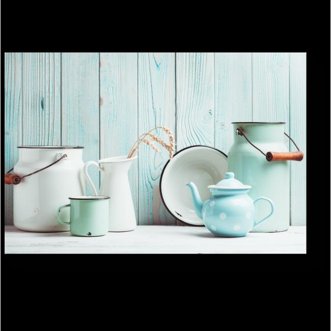 Модульная картина Голубая эмалированная посуда