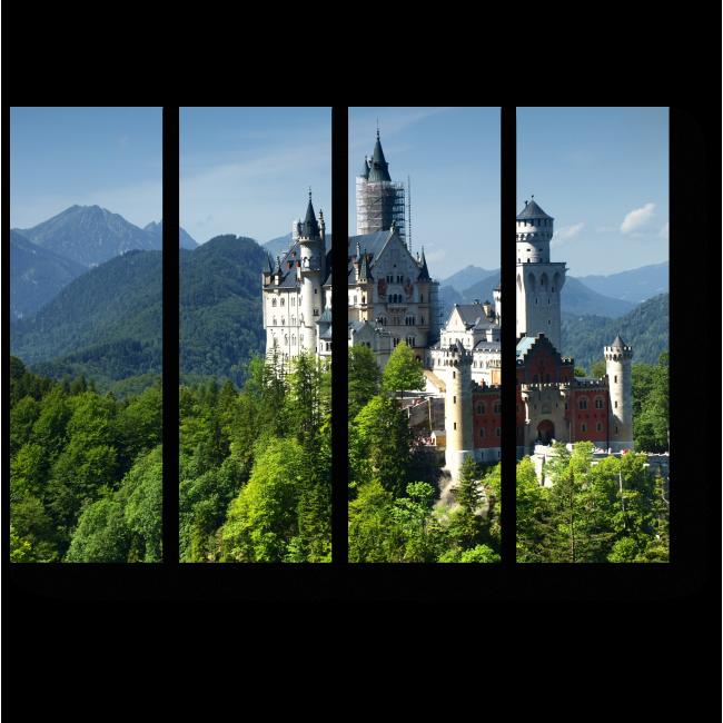 Модульная картина Замок Нойшванштайн в Альпах