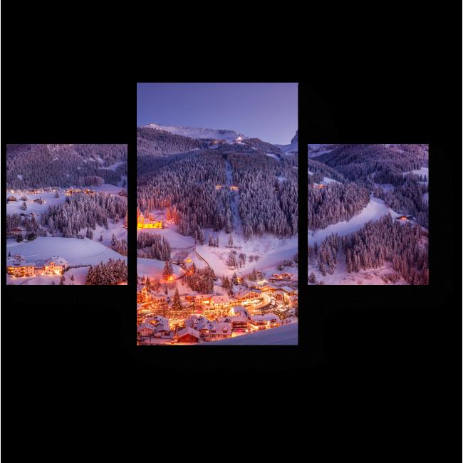 Модульная картина Зимняя деревня в Доломитах, Италия