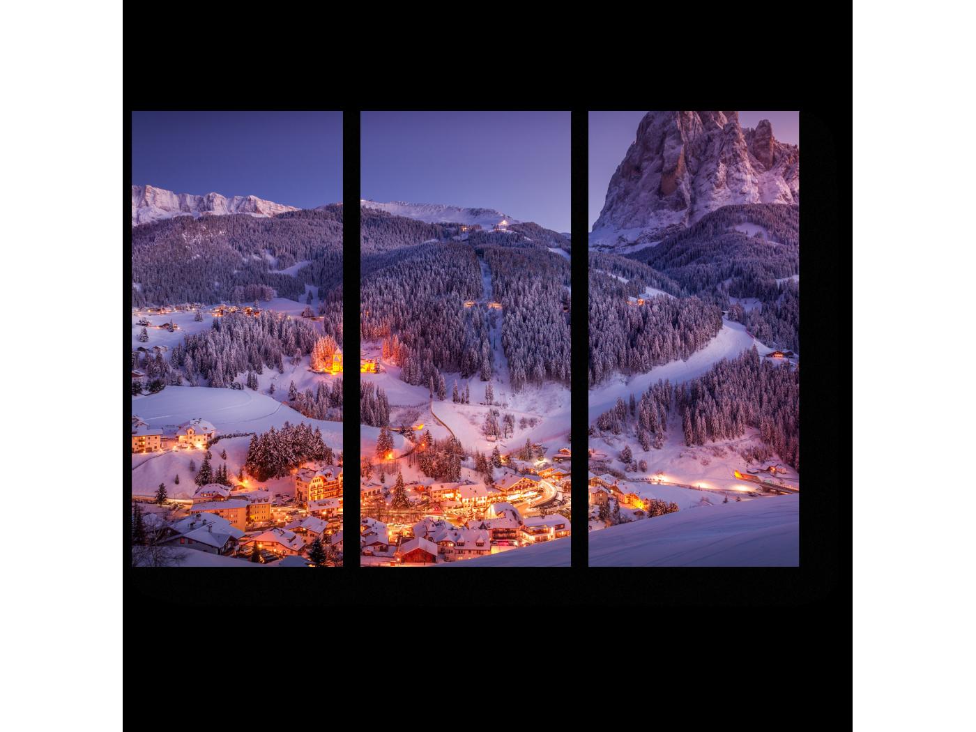 Модульная картина Зимняя деревня в Доломитах, Италия (60x43) фото