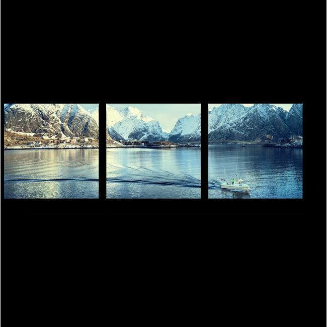 Модульная картина Солнечный день на Лофотенских островах