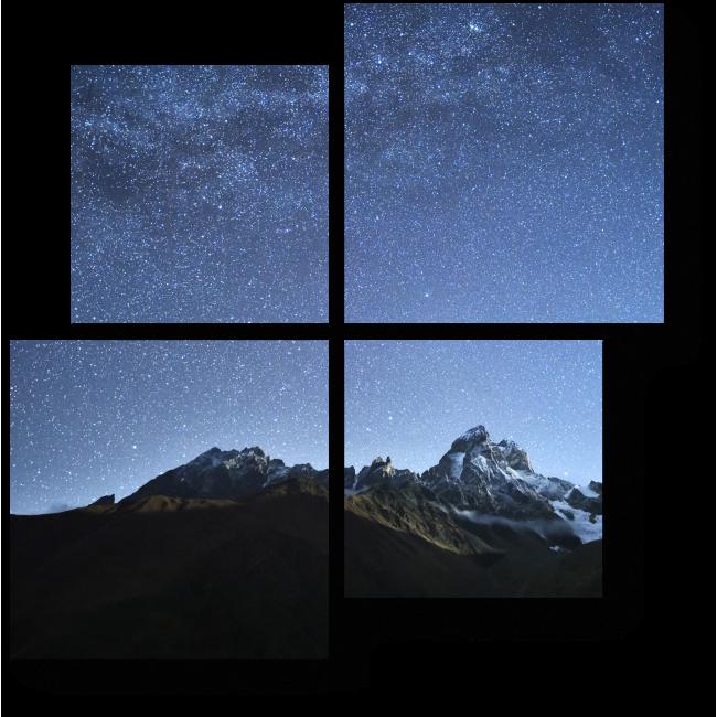 Модульная картина Млечный путь над горами
