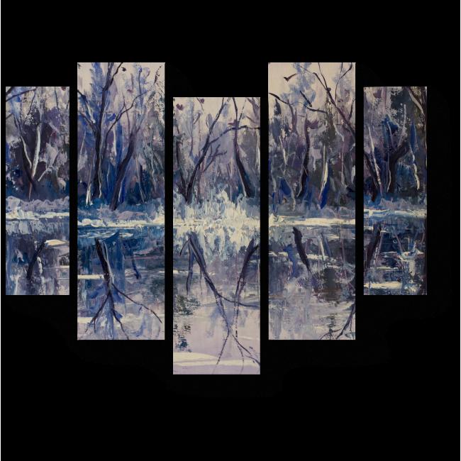 Модульная картина Река в зимнем лесу
