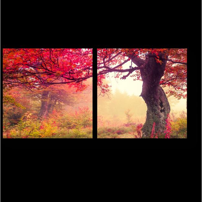 Модульная картина Магический розовый лес