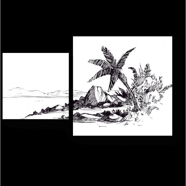Модульная картина Зарисовка тропического пляжа