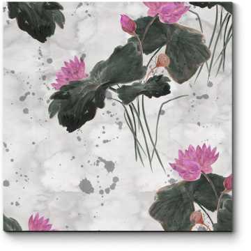 Китайский рисунок с лотосами