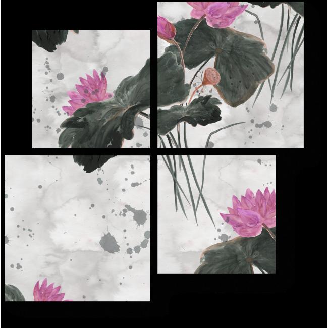 Модульная картина Китайский рисунок с лотосами