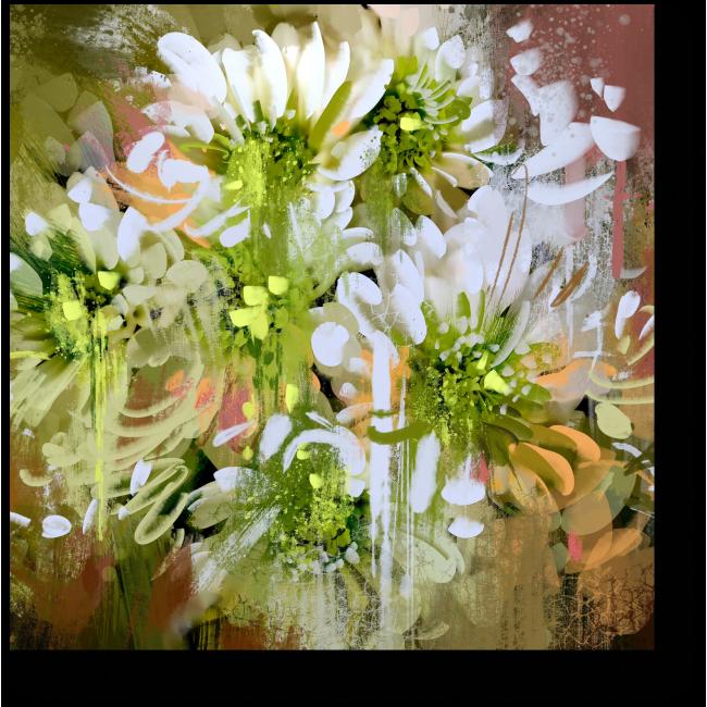 Модульная картина Белые абстрактные хризантемы