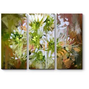 Белые абстрактные хризантемы