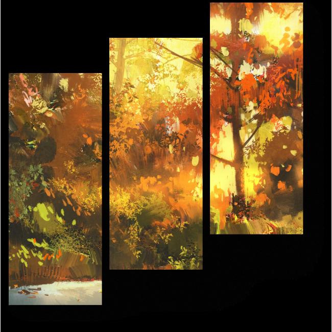 Модульная картина Прогулка по осеннему лесу