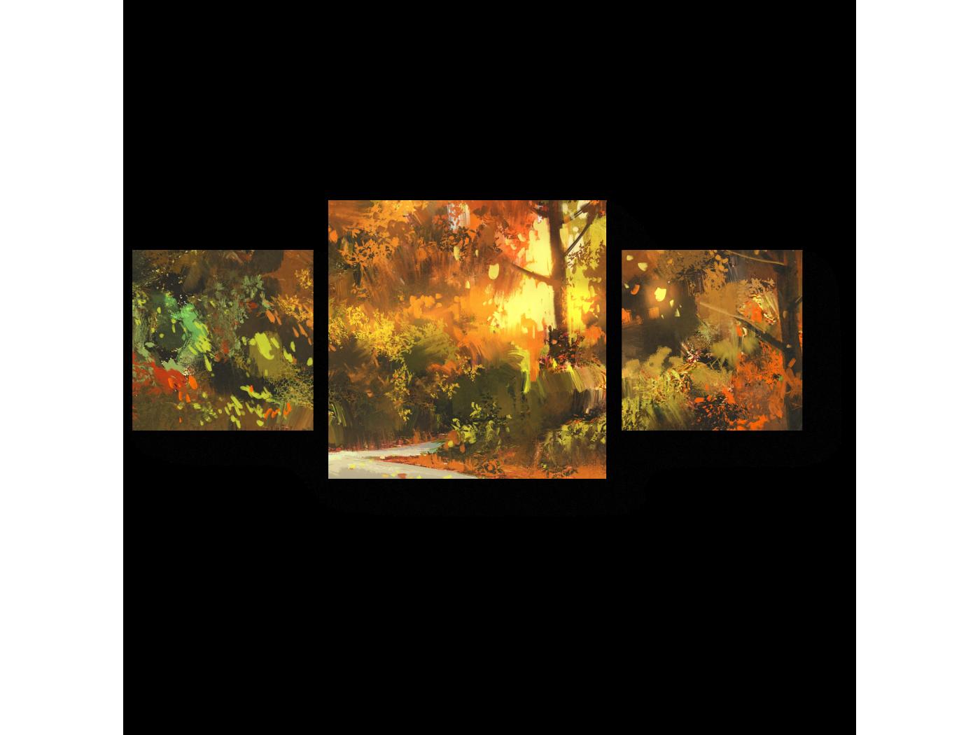 Модульная картина Прогулка по осеннему лесу (70x30) фото