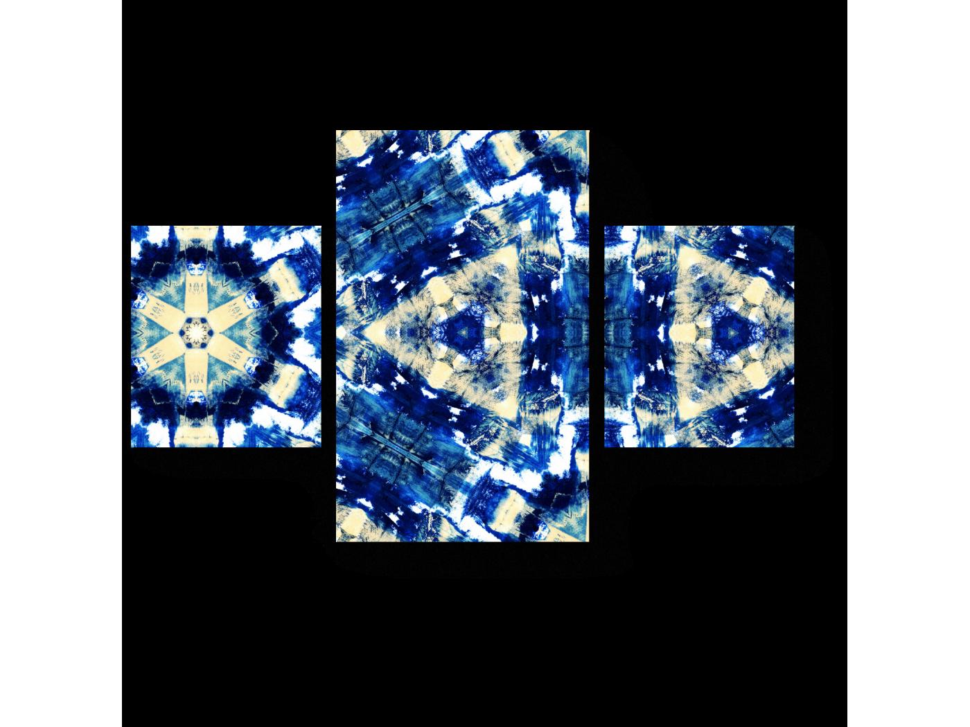 Модульная картина Синий узор калейдоскопа (80x52) фото