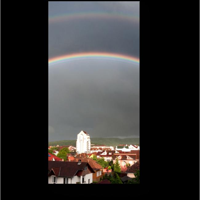 Модульная картина Двойная радуга над городом