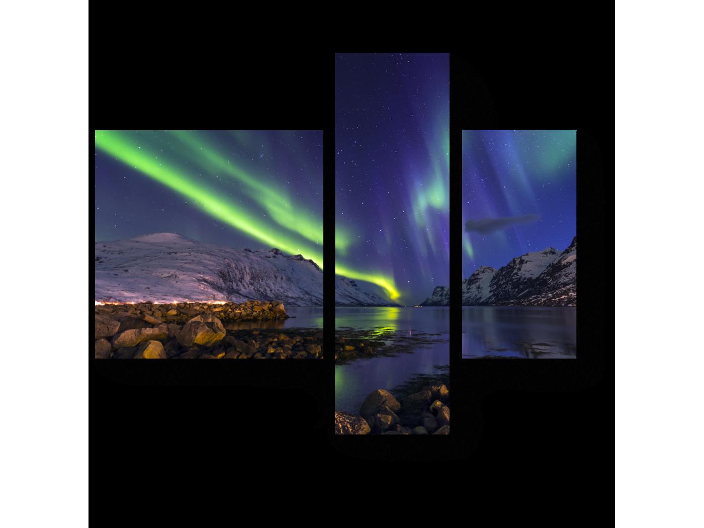 Модульная картина Ночное северное сияние (80x66) фото