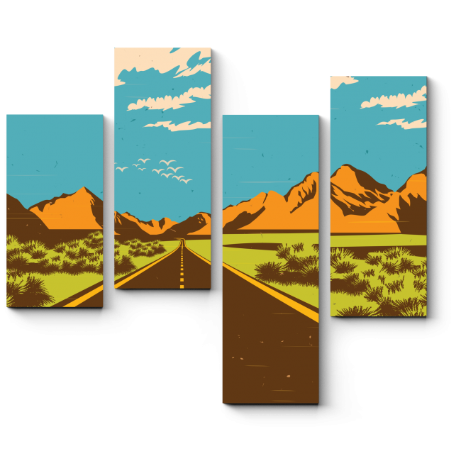 Модульная картина Сквозь пустыню