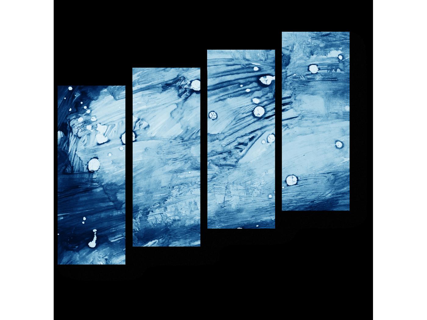Модульная картина Брызги синей краски (80x69) фото