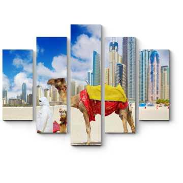Модульная картина Верблюды на пляже Дубая
