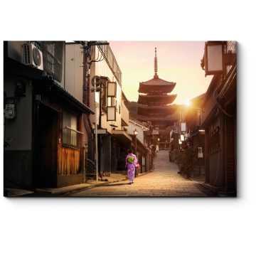 Модульная картина Прогулка по предрассветному Киото