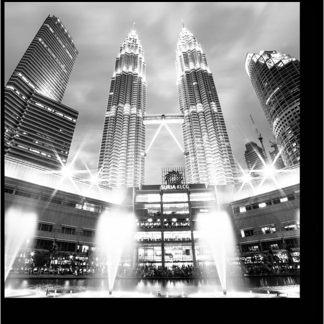 Модульная картина Монохромное сияние Куала-Лумпур