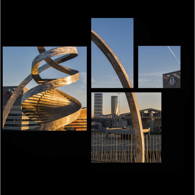 Модульная картина Инсталяция из закрученного металла, Портелло Парк, Милан