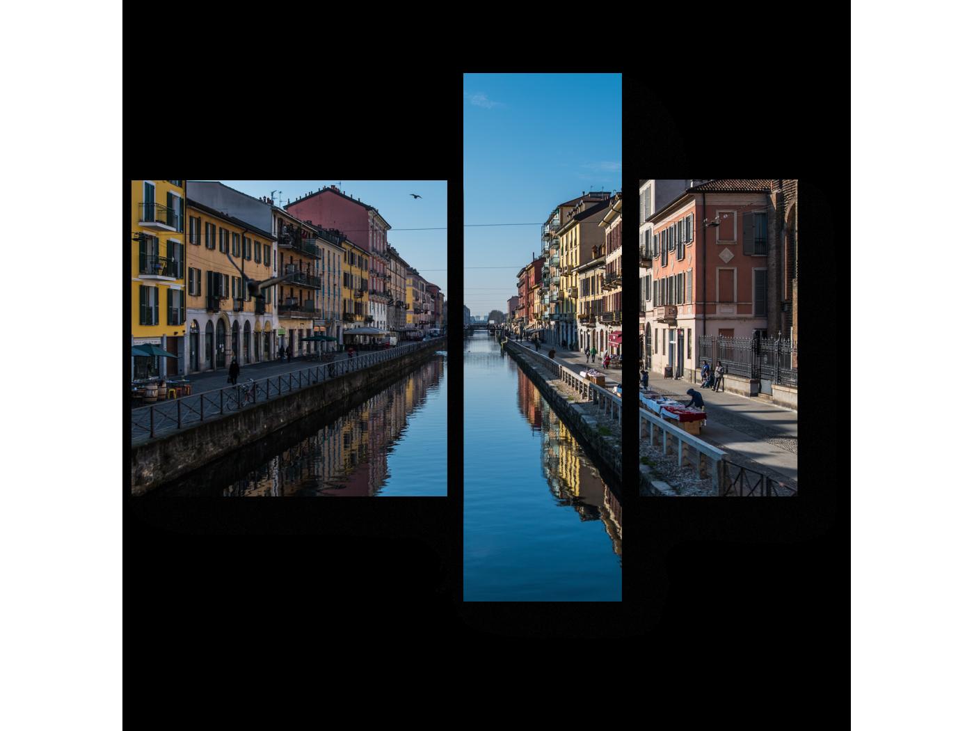 Модульная картина Большой канал Милана (80x66) фото