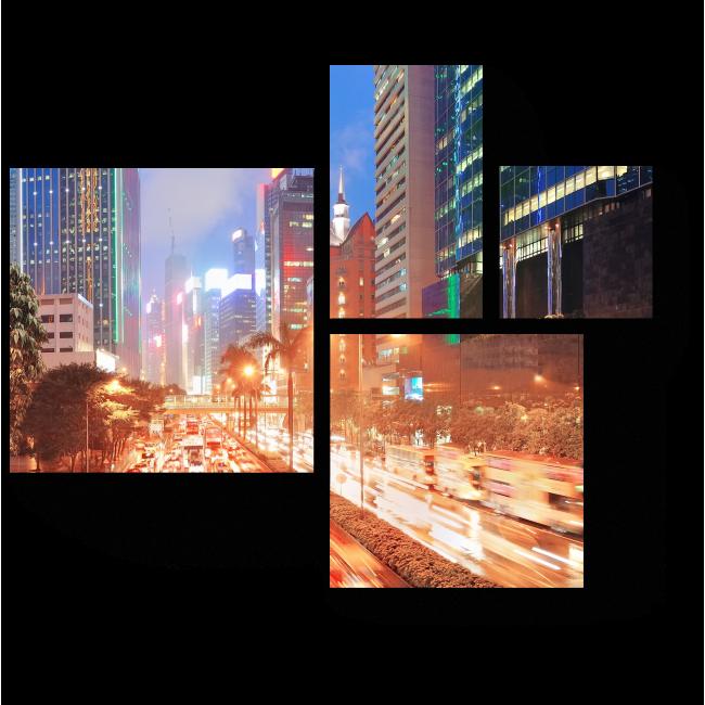 Модульная картина Улицы Гонконга