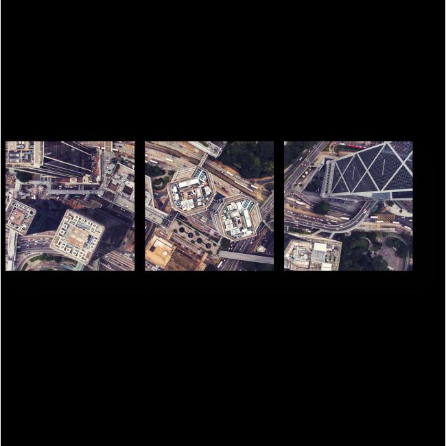 Модульная картина Взгляд на город с высоты птичьего полета