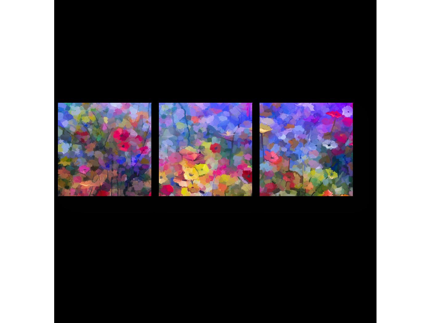 Модульная картина Луговая абстракция (60x20) фото