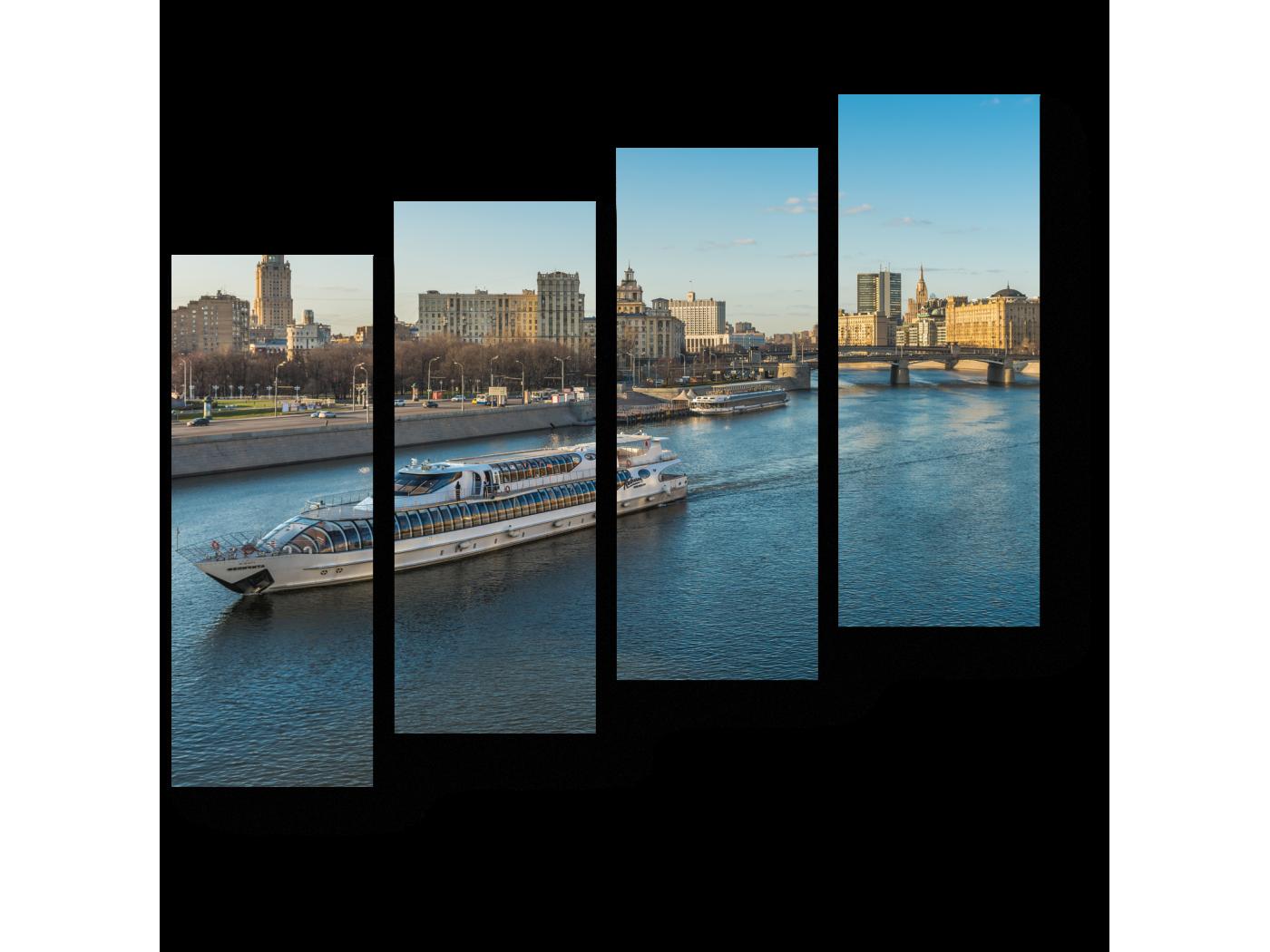 Модульная картина Путешествие по Москва реке (80x69) фото