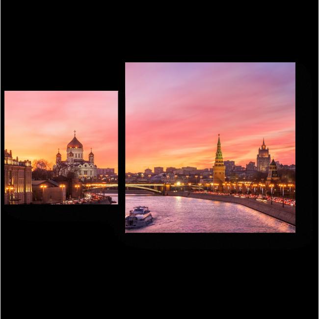 Модульная картина Закат над Москва рекой