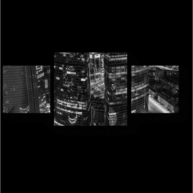 Модульная картина Огни ночной Москвы