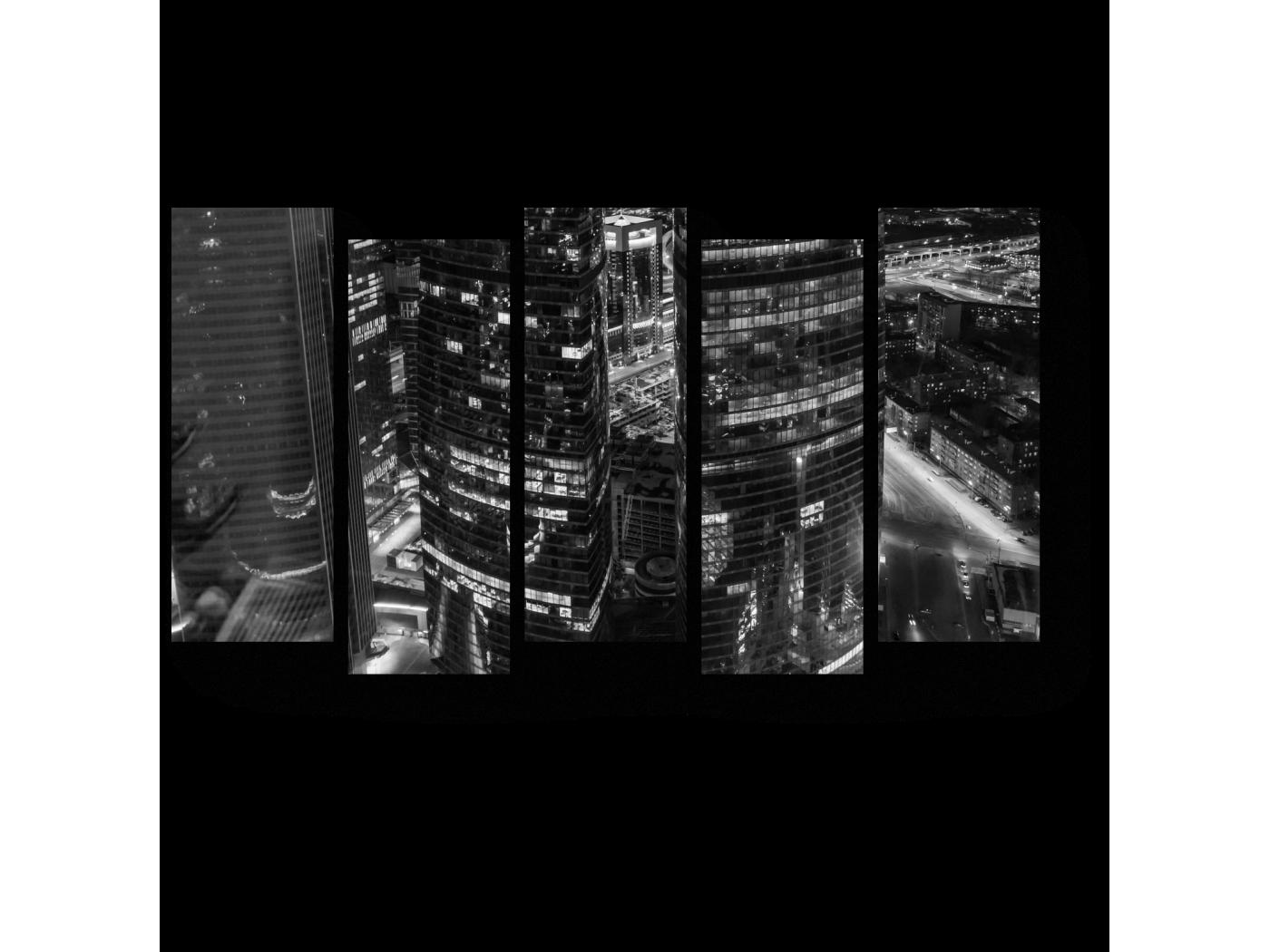 Модульная картина Огни ночной Москвы (90x52) фото